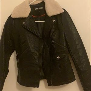 Faux leather jacket with removable fur